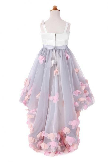 Flower Girl Dresses for Wedding Short Front Long Back Satin with Tulle Appliques Straps Party Bll Gown