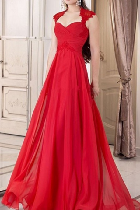 Red Chiffon Appliques Cap Sleeve Floor Length Prom Dress