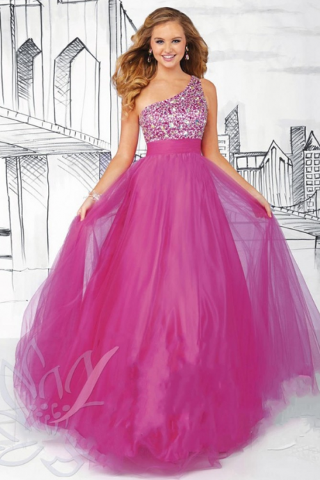 Hot Pink Tulle One Shoulder Tulle Evening Gown With Beading Bodice