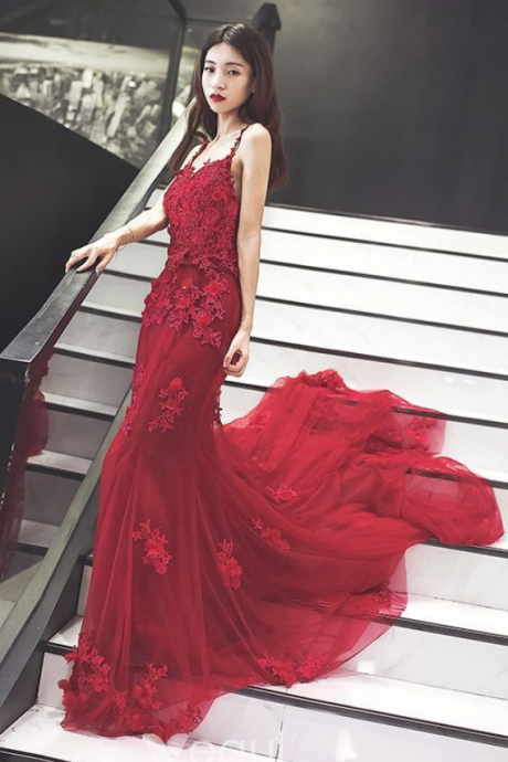 New Arrival Mermaid Spaghetti Straps Red Tulle Long Prom/Evening Dress with Appliques