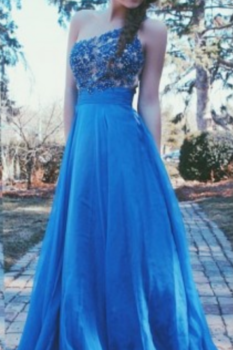 One Shoulder Prom Dresses,Lace Evening Dress,Chiffon Prom Dress,Royal Blue Blue Prom Dresses, Prom Gown