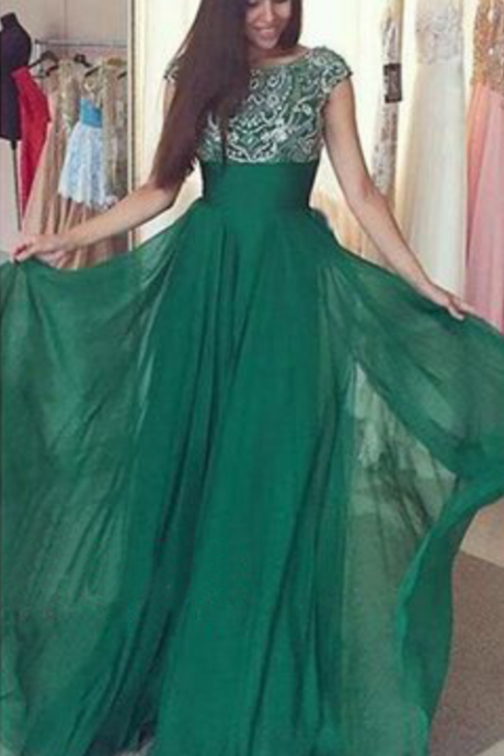 Green Prom Dresses,Silver Beadings Evening Gowns,Modest Formal Dress,Beaded Prom Dresses,Long Evening Gown,Evening Gowns