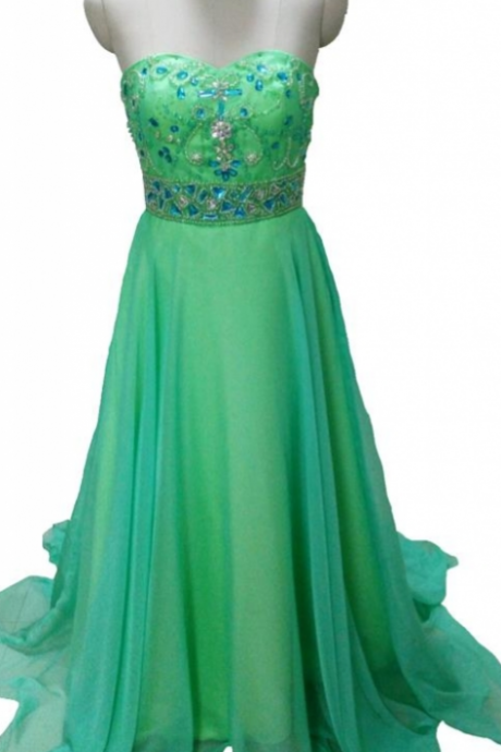 Elegant Green Prom Dresses A Line Sweetheart Crystals Beading Long Chiffon Formal Party Dresses Graduation Gown