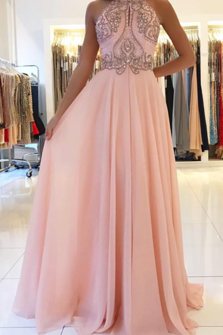 Opening Back Pink Prom Dresses Stunning Beading Chiffon A line Long Party Gowns Elegant Evening Gowns for Women Fashion Design