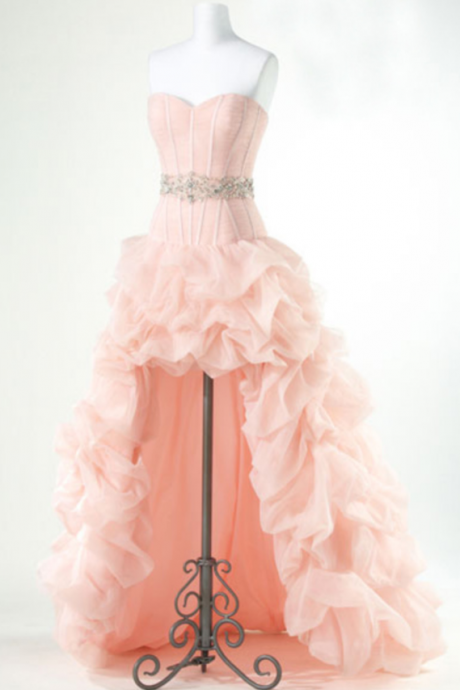 Custom Made Pink Chiffon Prom Dress,Sexy Sweetheart Evening Dress,Beading Party Dress,High-Low Prom Dress