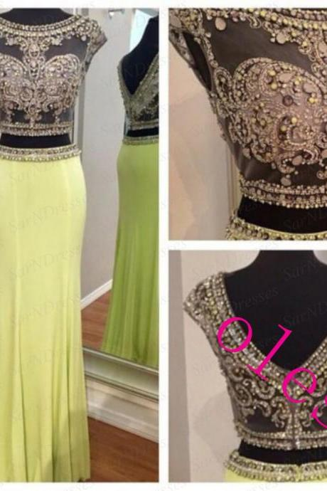 Two Piece Prom Dresses, Yellow Homecoming Dresses, Formal Dresses, Party Dresses