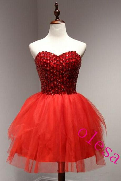 Homecoming Dress Red Short Homecoming Dress Short Prom Dress TULLE Cheap Prom Dress Party Prom Dress Junior Prom Dress