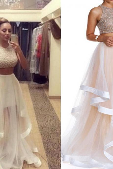 Champagne Prom Dress, Two Piece Prom Dresses, Long Prom Dress, Tulle Prom Gowns, Sexy Formal Dresses, Cheap Prom Gowns
