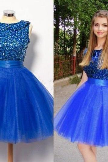 Puffy Tulle Royal Blue Homecoming Dress, Short Homecoming Dresses, Cheap Graduation Dress, Sparkly Homecoming Dress, A Line Homecoming Dress, Cocktail Party Dresses