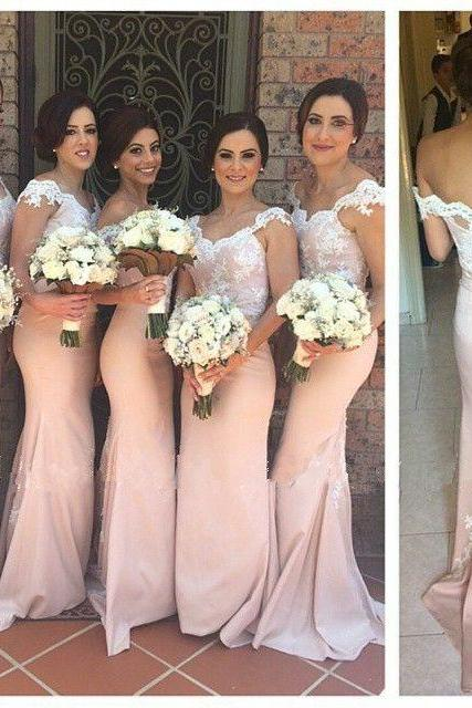 Mermaid Bridesmaid Dress, Pink Bridesmaid Dresses, Lace Bridesmaid Dress, Long Bridesmaid Dresses, Cap Sleeve Prom Dress, Elegant Bridesmaid Dress, Bridesmaid Dresses 2016