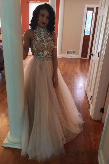 Charming Prom Dress Tulle Prom Dress,A-Line Prom Dress,High-Neck Prom Dress,Beading Prom Dress,Noble Prom Dress