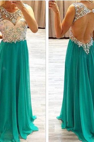 SEXY High Quality Prom Dress A-Line PARTY Dress O-Neck Prom Dress Chiffon EVENING Dress Beading Prom Dress