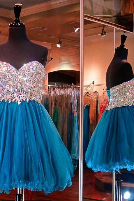 Charming PROM Dress TULLE Homecoming Dress,Sweetheart PARTY Dress Beading Homecoming Dress