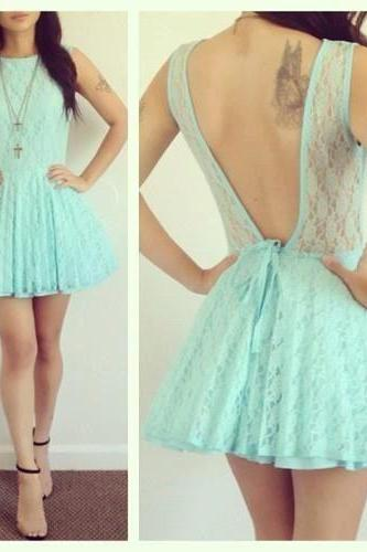 Charming PROM Dress Lace EVENING Dress Backless PARTY Dress Short Cute Homecoming Dress