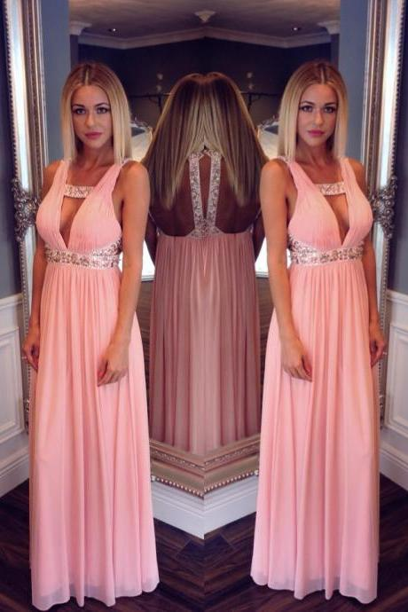 High Quality EVENING Dress A-Line PARTY Dress V-Neck Prom Dress Chiffon Prom Dress Beading Prom Dress