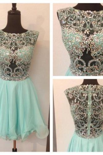 Charming EVENING Dress Beading Homecoming Dress TULLE Homecoming Dress Cute Short Prom Dress