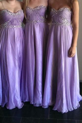 Charming Bridesmaid Dress Strapless Bridesmaid Dress Chiffon Bridesmaid A-Line Prom Dress With Sequined
