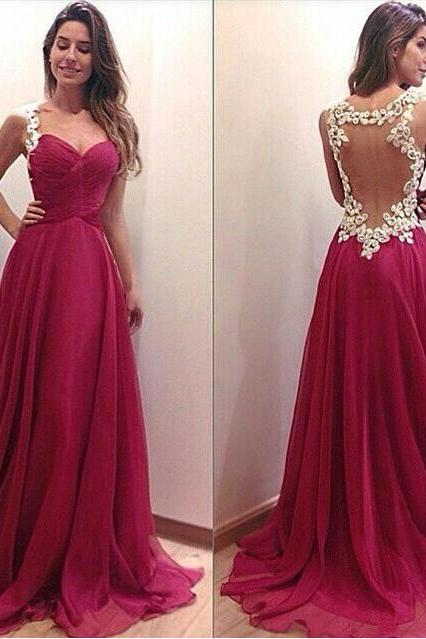 Charming PARTY Dress Appliques SEXY Prom Dress A-Line EVENING Dress Backless Prom Dress Sexy Prom Dress