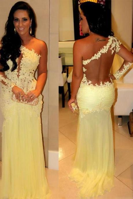 Charming EVENING Dress One-Shoulder PARTY Dress Appliques Prom Dress Long Sleeve Prom Dress Mermaid Prom Dress