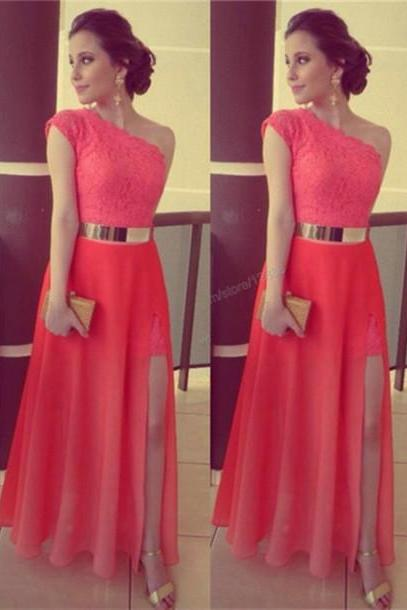 High Quality Evening Dress Charming Party Dress A-Line Prom Dress One-Shoulder Prom Dress