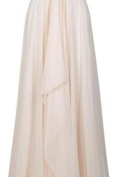 Pretty Prom Dress A-Line Prom Dress Chiffon EVENING Dress Strapless Prom Dress Beading Prom Dress