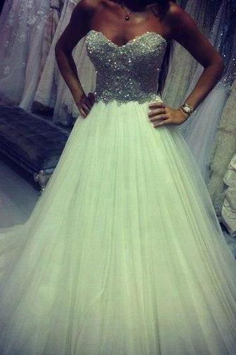 Charming Prom Dress Sequined WEDDING Dress A-Line Bridal gowns Dress Strapless Bridal Dress Tulle Prom Dress