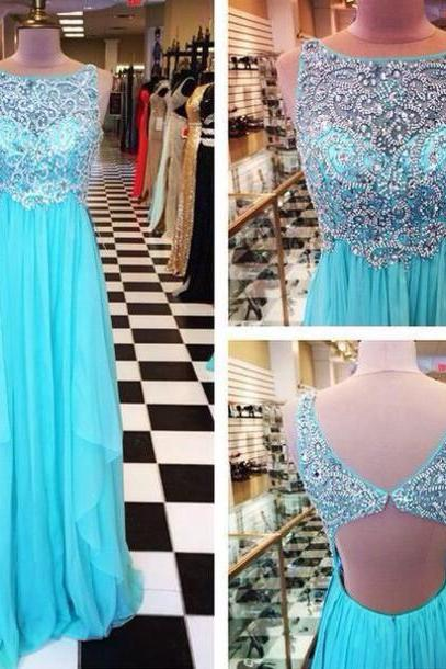 Charming evening Dress Beading Party Dress A-Line Prom Dress Backless Prom Dress Chiffon Prom Dress