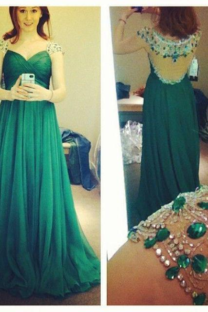 Charming EVENING Dress Sequined PARTY Dress A-Line Prom Dress V-Neck Prom Dress