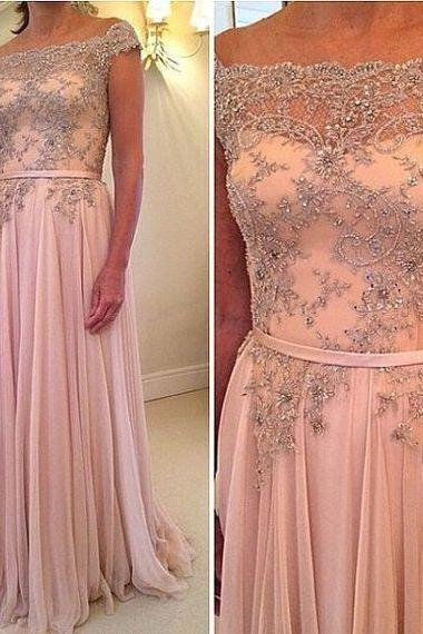 Charming EVENING Dress Beading Dress A-Line PARTY Dress Chiffon Prom Dress Fashion Prom Dress