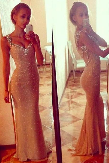 New Style Prom Dress With Straps Sequin Long Mermaid Prom Dress