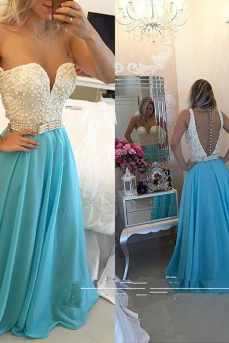 Prom Dress,Blue Prom Dress,Beaded Prom Dress,Sparkle Prom Dress,Chiffon Prom Dress,Sexy Prom Dress, Sheer Back And Neck Prom Dress,Party Dress