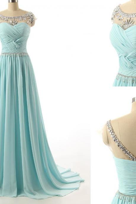 Blue Floor Length Chiffon Evening Gown Featuring Beaded Cap Sleeve Ruched Sweetheart Bodice