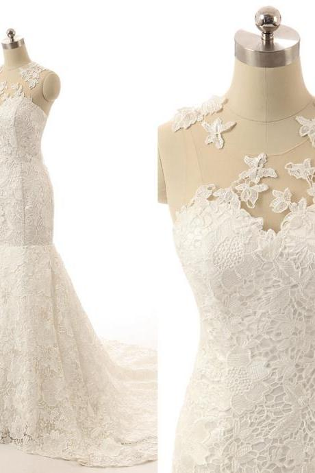 Sweetheart Lace Appliqué Mermaid Bridal Gown with Illusion Neckline and Chapel Train