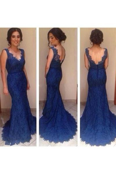Long Prom Dress, Lace Prom Dress, Blue Prom Dress, Elegant Prom Dress, Mermaid Prom Dress, Evening Dress, Lace Bridesmaid Dress