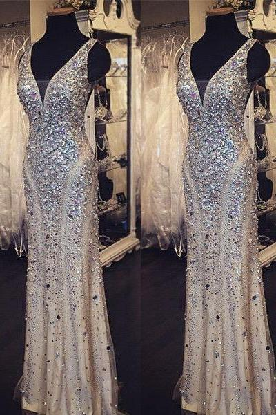 Long Prom Dress, Nude Prom Dress, Party Prom Dress, Sparkle Prom Dress, Glittery Prom Dress, Full Rhinestone Beaded Prom Dress, Evening Dress Gown,