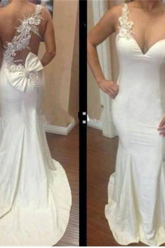 Long Prom Dress, White Prom Dress, Party Prom Dress, Sheath Prom Dress, Cheap Prom Dress,One Shoulder Prom Dress, Evening Dress Gown