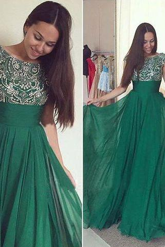 Long Prom Dress, Green Prom Dress, Party Prom Dress, Chiffon Prom Dress, Cheap Short Sleeve Prom Dress, Elegant Prom Dress, Evening Dress
