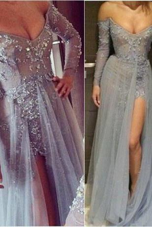 Long Prom Dress, Gray Prom Dress, Lace Prom Dress, Off Shoulder Prom Dress, Sexy Side Slit Prom Dress, Cheap Prom Dress, Evening Prom Dress