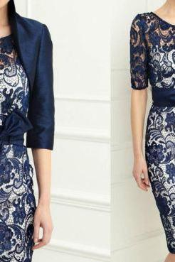 New Navy Formal Evening Mother Of The Bride Dress & Free Jacket Size