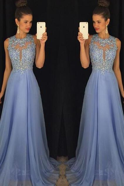 Luxury Sparking Crystal Beaded Blue Bridesmaid Evening Pageant Dresses Prom Gown Prom Dresses