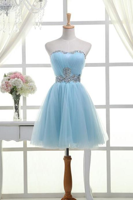 Hot Selling Light Sky Blue Strapless Homecoming Dresses,Short Beading Homecoming Dress,Modest Cocktail Dresses,Graduation Dresses