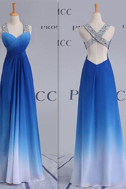 Pretty Royal Blue Ombre Prom Dress For Teens, Floor-Length Evening Dresses,High Low Elegnat Party Prom Dresses,Prom Dress 2016,Backless Prom Gowns