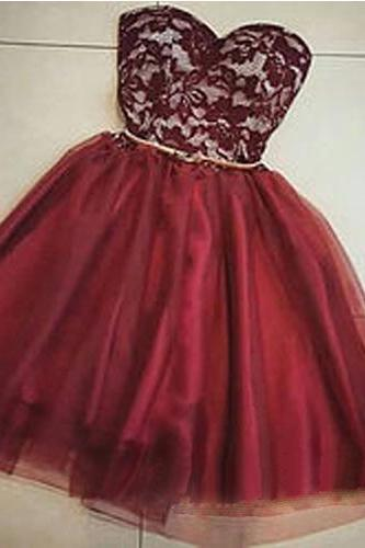 Burgundy Homecoming Dress,Chiffon Homecoming Dresses,Short Prom Dress,Strapless Evening Dress,Summer Lace Prom Dress,Simple Wine Red Homecoming Gowns,Burgundy Evening Gowns