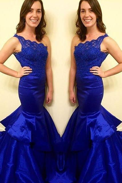 Mermaid Prom Gown,Taffeta Prom Dresses,Royal Blue Evening Gowns,Beaded Party Dresses,Evening Gowns,Sexy Formal Dress For Senior Teen
