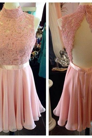 Blush Pink Homecoming Dress,Short Prom Dresses, Homecoming Gowns,Homecoming Dresses,Formal Dresses,Lace Graduation Dresses,Sweet 16 Gown
