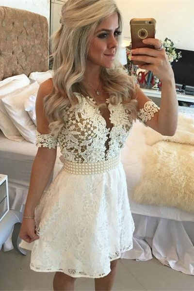 White Homecoming Dress,Lace Homecoming Gown,Tulle Homecoming Gowns,Ball Gown Party Dress,Short Prom Dresses,Lace Formal Dress For Teens