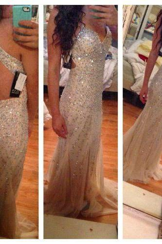 Champagne Prom Dresses,Mermaid Prom Gowns,Tulle Prom Dresses,Beading Prom Dresses,Mermaid Prom Gown,2016 Prom Dress,Evening Gonw For Teens