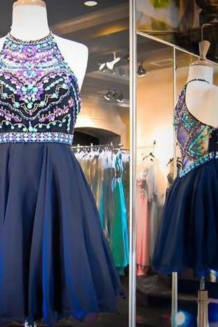 Homecoming Dress,Chiffon Homecoming Dress,Cute Homecoming Dress,Homecoming Dress,Short Prom Dress,Navy Blue Homecoming Gowns,Beaded Sweet 16 Dress
