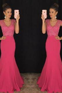 Pink Prom Dresses,Mermaid Prom Gowns,Pink Prom Dresses 2016, Party Dresses 2016,Long Prom Gown,Prom Dress,Sparkle Evening Gown,Sparkly Party Gowbs
