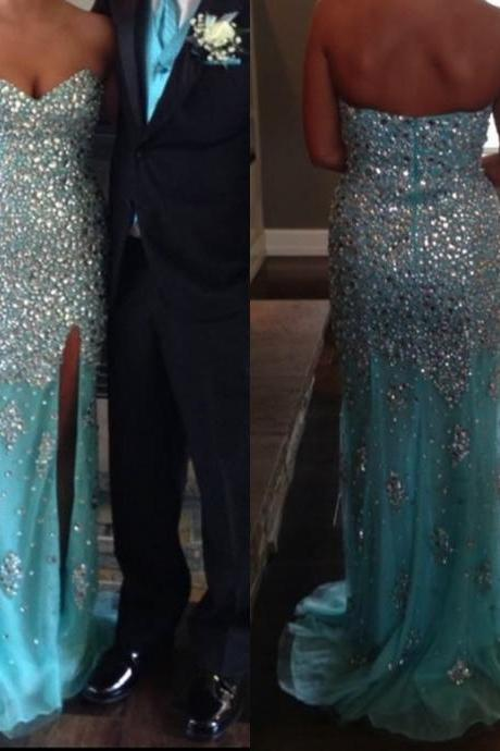 Blue Prom Dresses,Mermaid Prom Dress,Beaded Prom Gown,Mermaid Prom Gowns,Elegant Evening Dress,Modest Evening Gowns,Sexy Party Gowns,Prom Dress
